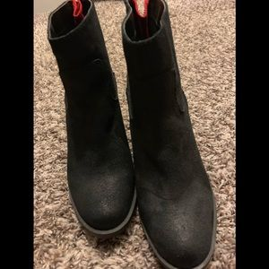 Black faux suede ankle length boots